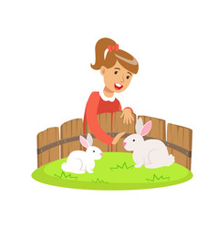 smiling little girl petting two white rabbits in a vector image