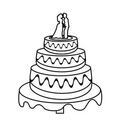 wedding cake couple sweet outline vector image