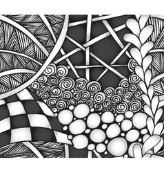 Abstract monochrome zentangle seamless pattern vector