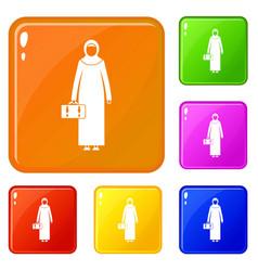 Arabic woman icons set color vector