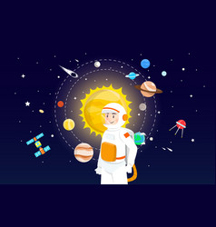astronaut with solar system design vector image