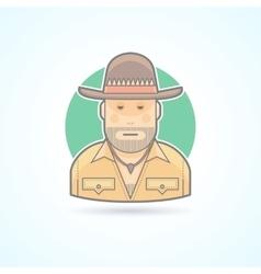 Australian hunter bushman icon vector