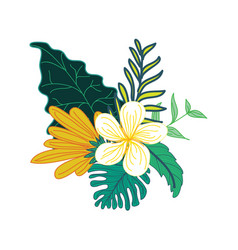 Beautiful hand drawn tropical flower foliage vector