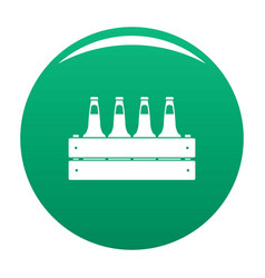 Beer crate icon green vector
