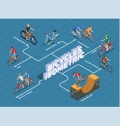 bicycles isometric flowchart vector image