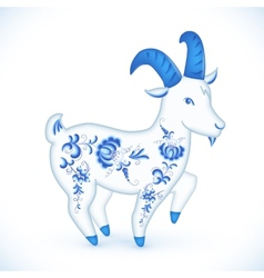 Blue cartoon goat in Russian gzhel style vector