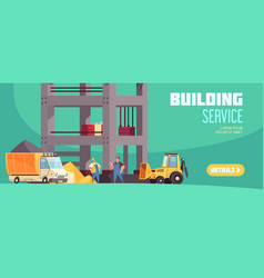 Building service horizontal banner vector