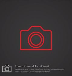 Camera outline symbol red on dark background logo vector