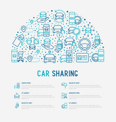 Car sharing concept in half circle vector