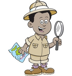 Cartoon African boy explorer vector image