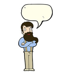 Cartoon bearded hipster man with speech bubble vector