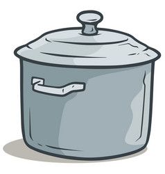 Cartoon gray cooking pot with cover vector