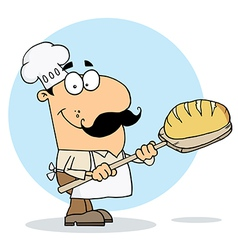 Caucasian Cartoon Bread Maker Man vector image vector image