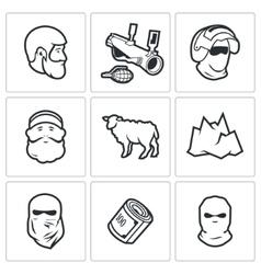 Caucasus icons vector