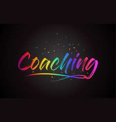 Coaching word text with handwritten rainbow vector