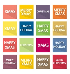 Collection of 16 Christmas Banner vector image