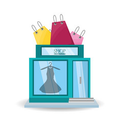 Colorful dress store with shopping bag concept vector