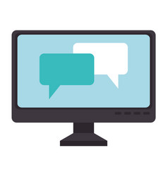 computer display with speech bubbles vector image