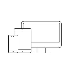 computer monitor tablet phone devices line icon vector image
