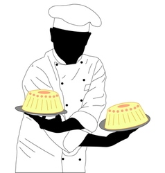Confectioner holding two cakes vector