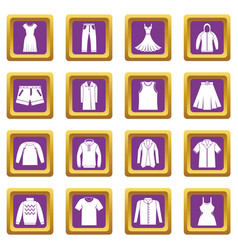 different clothes icons set purple vector image