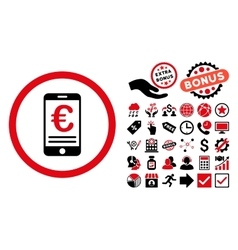Euro Mobile Bank Account Flat Icon with vector image