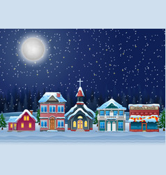 Fabulous snow covered town in the christmas night vector