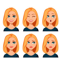 face expressions of woman with blond hair vector image