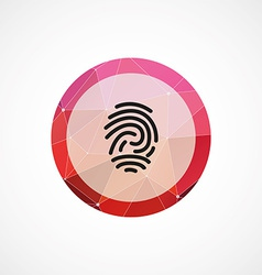 Fingerprint circle pink triangle background icon vector