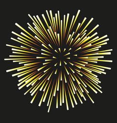 fireworks yellow on a black background vector image