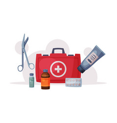 First aid kit box with medical equipment and vector