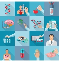 Flat Isolated Biotechnology Icons Set vector image