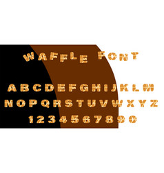 Font baked waffles cute waffle letters vector