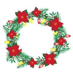 frame Christmas poinsettia vector image