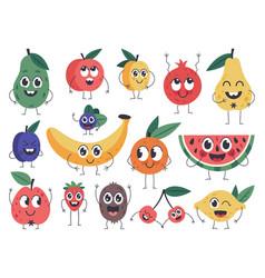 fruit character doodle vegetarian food mascots vector image