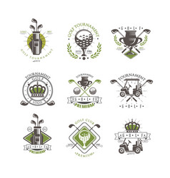 Golf tournament logo set vintage labels for golf vector