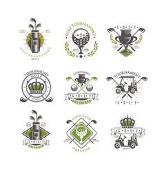 golf tournament logo set vintage labels for vector image