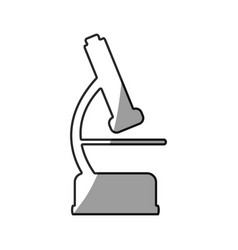 grayscale silhouette with icon of microscope tool vector image