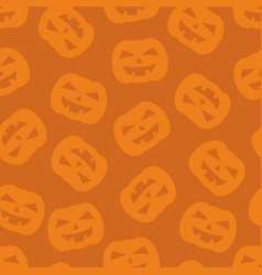halloween tile pattern with pumpkin on orange vector image