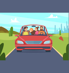 happy family in car people father mother kids vector image