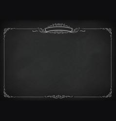 Horizontal retro blackboard background with border vector