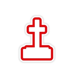Icon sticker realistic design on paper grave vector