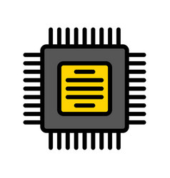 Integrated circuit electronic device filled icon vector