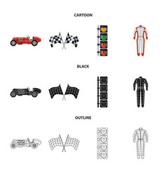 Isolated object of car and rally symbol set of vector