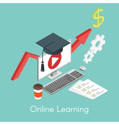 isometric concept for online learning education vector image