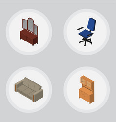 Isometric design set of drawer cupboard couch vector