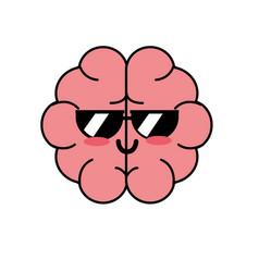 Kawaii cute funny brain anatomy organ vector