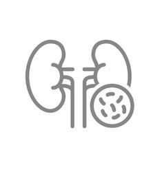 Kidneys with bacteria line icon diseased internal vector