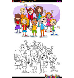 Kids and teens characters group coloring book vector