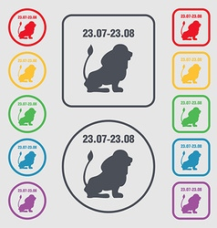 Leo zodiac icon sign symbol on the Round and vector image